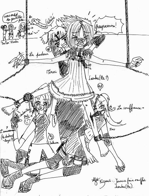 Fanart de Haruno Sakura, Hyûga Hinata, Orochimaru, Temari, Ten-Ten, Uchiwa Sasuke, Yamanaka Ino par Kizamü