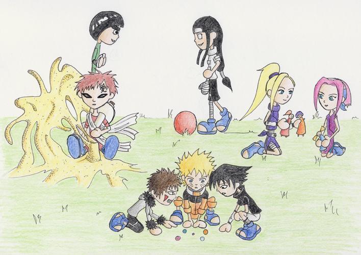 Fanart de Gaara du Désert, Haruno Sakura, Hyûga Neji, Inuzuka Kiba, Rock Lee, Uchiwa Sasuke, Uzumaki Naruto, Yamanaka Ino par morgila