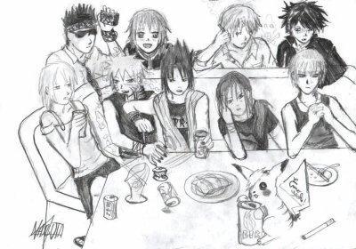 Fanart de Aburame Shino, Haruno Sakura, Uchiwa Itachi, Uchiwa Sasuke, Uzumaki Naruto par mouton-bond