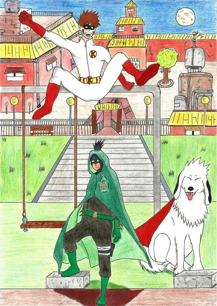 Fanart de Inuzuka Kiba, Nara Shikamaru, Uzumaki Naruto par Satinsky