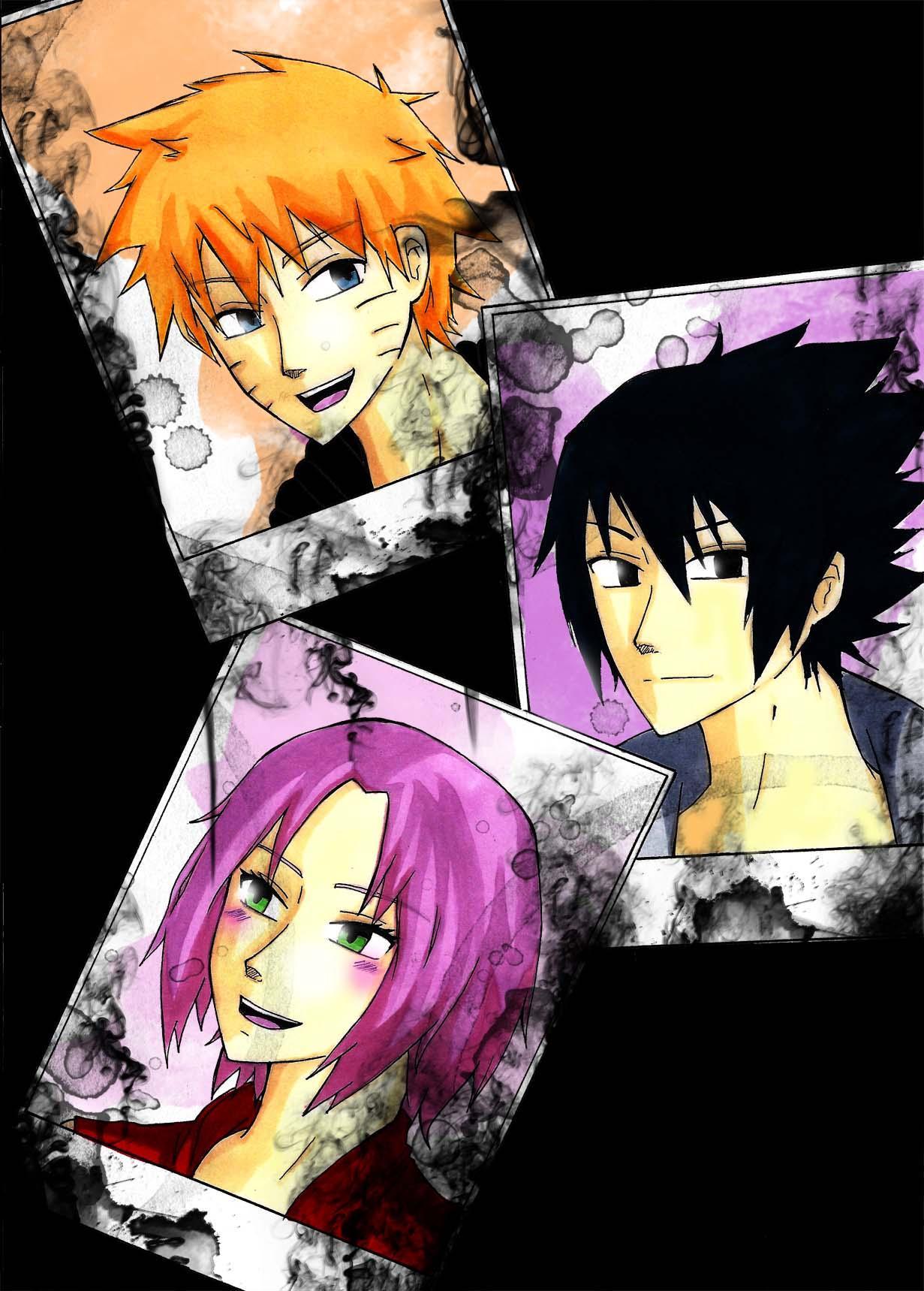 Fanart de Haruno Sakura, Uchiwa Sasuke, Uzumaki Naruto par Feutre34