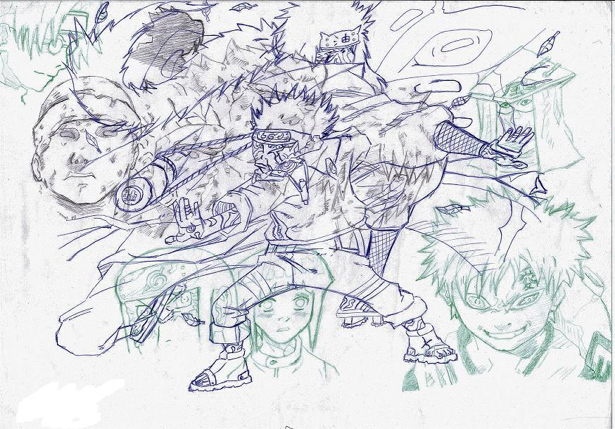 Fanart de Gaara du Désert, Gamabunta, Hyûga Hinata, Hyûga Neji, Jiraiya, Nidaime Hokage, Orochimaru, Sandaime Hokage, Shodai Hokage, Uchiwa Sasuke, Uzumaki Naruto, Yondaime Hokage par Olocoste