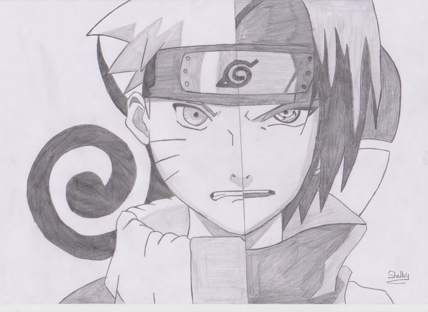 Drawing Naruto Vs Sasuke Half Face - duashadi.com