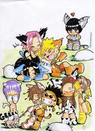 Fanart de Aburame Shino, Haruno Sakura, Hyûga Hinata, Inuzuka Kiba, Rock Lee, Tsuchi Kin, Uchiwa Sasuke, Uzumaki Naruto par erufunotoki