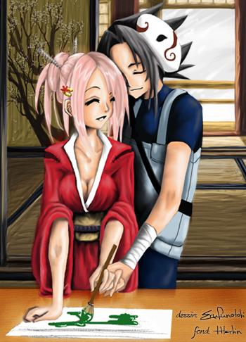 Fanart de Haruno Sakura, Uchiwa Sasuke par erufunotoki