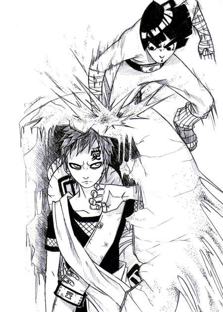 Fanart de Gaara du Désert, Rock Lee par Uchiha_Sasuke