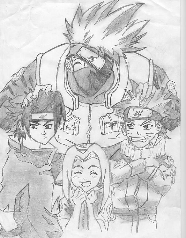 Fanart de Haruno Sakura, Hatake Kakashi, Uchiwa Sasuke, Uzumaki Naruto par naruto-maniac