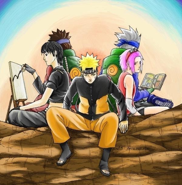 Fanart de Haruno Sakura, Hatake Kakashi, Sai, Uzumaki Naruto, Yamato par Darok